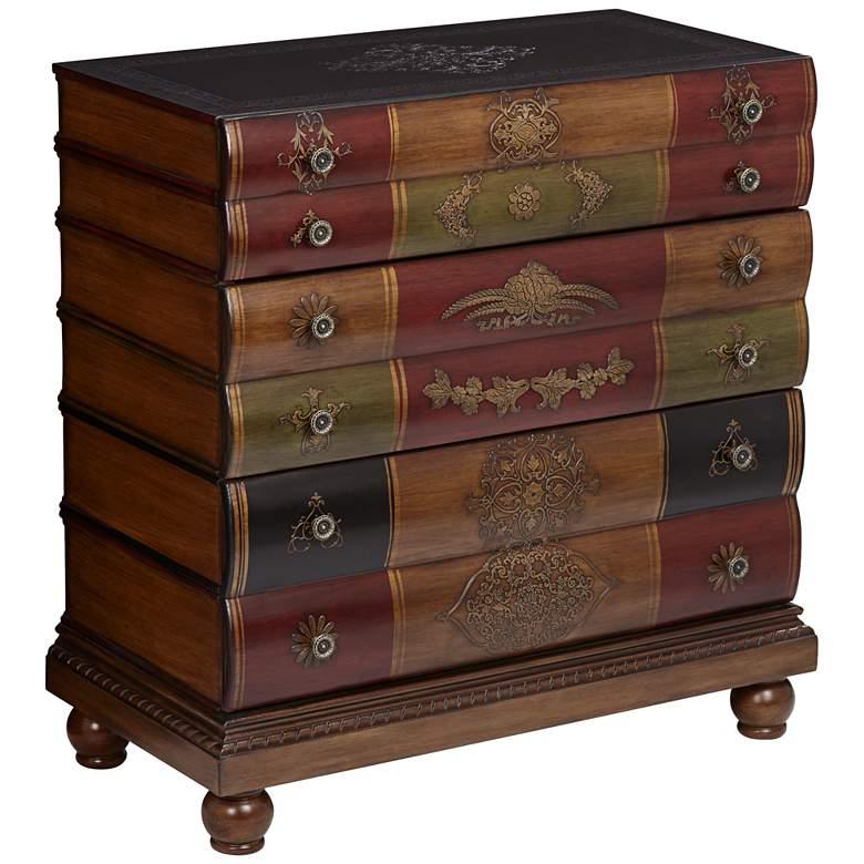 """Crestview 32"""" Wide Library Book 3-Drawer Storage Chest"""