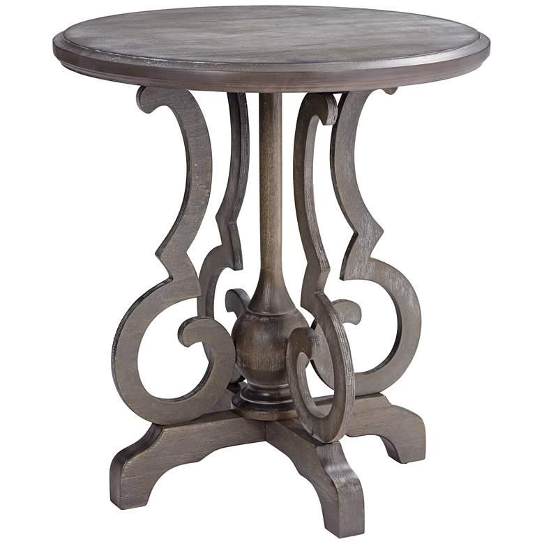 "Kensington 24"" Wide Burnished Oak Round Accent Table"