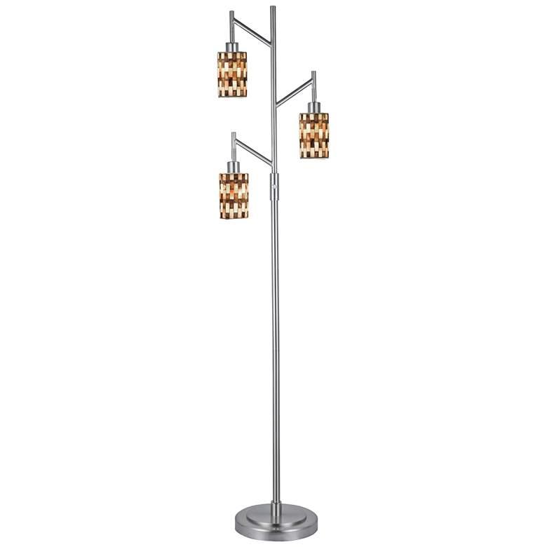 Dale Tiffany Kalmia Brushed Nickel 3-Light Mosaic Floor Lamp