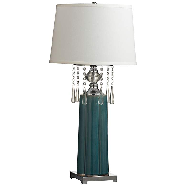 Dale Tiffany Tori Textured Black and Crystal LED Table Lamp