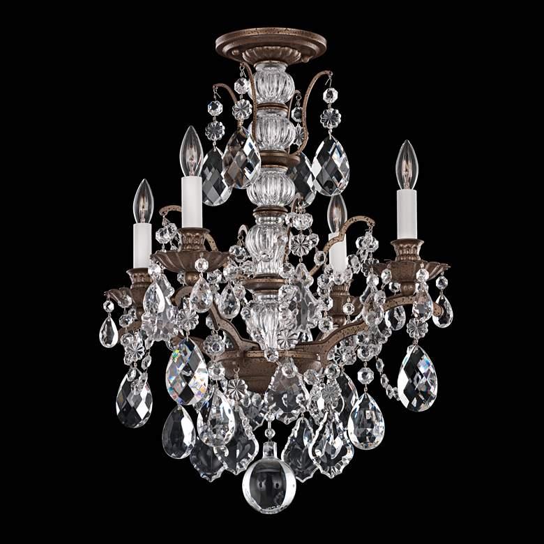 """Schonbek Bordeaux 17 1/2""""W Bronze and Crystal Ceiling Light"""