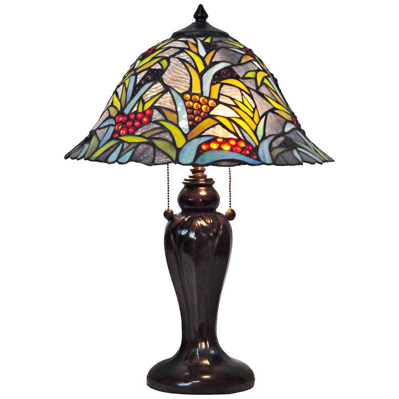Dale Tiffany Benita Tropical Art Glass 2-Light Table Lamp