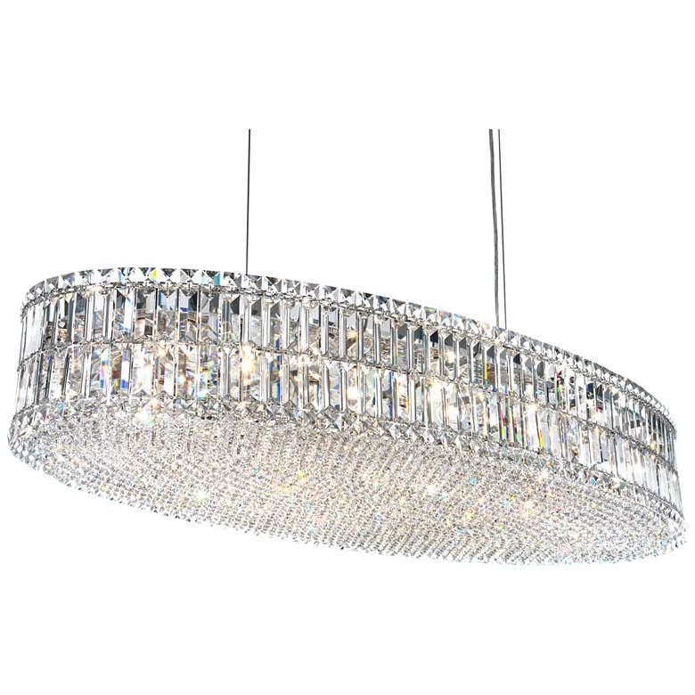 "Schonbek Plaza 48""W Polished Silver Crystal Pendant Light"