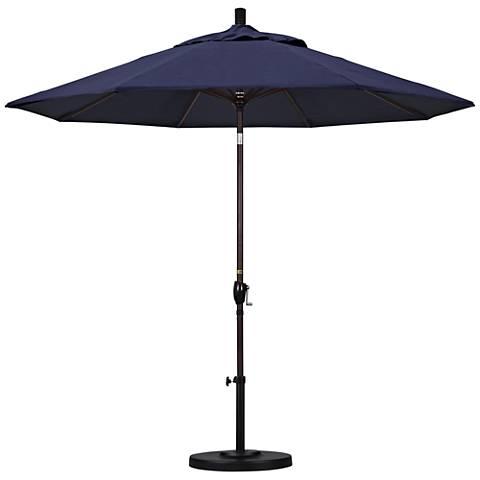 Pacific Trails 9-Foot Navy Fabric Round Market Umbrella