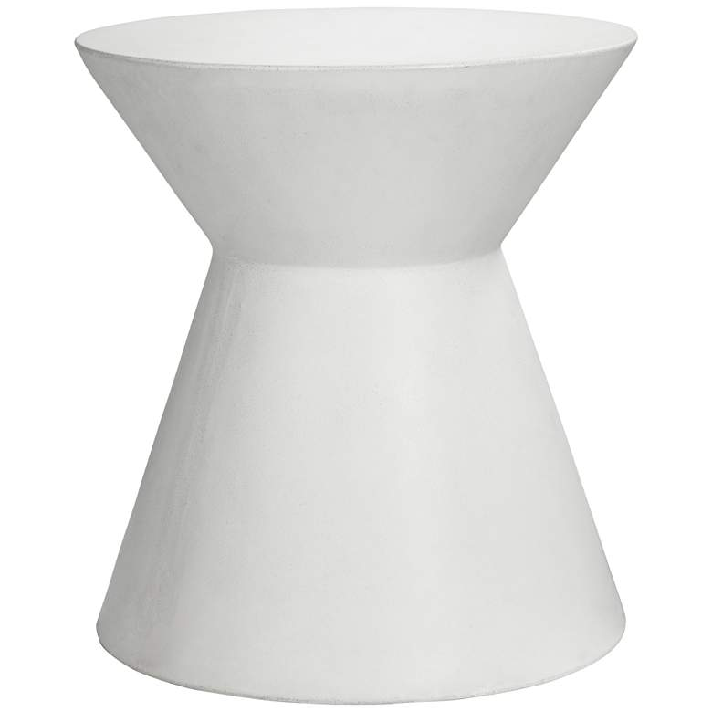 "Astley 20"" White Concrete Indoor-Outdoor Modern End Table"