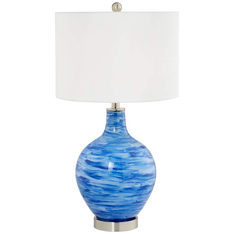 Skyscape Blue Hand-Painted Glass Table Lamp