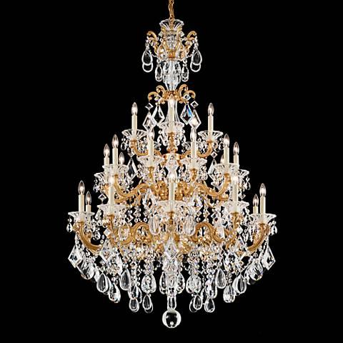 "Schonbek La Scala 35"" Wide French Gold Crystal Chandelier"
