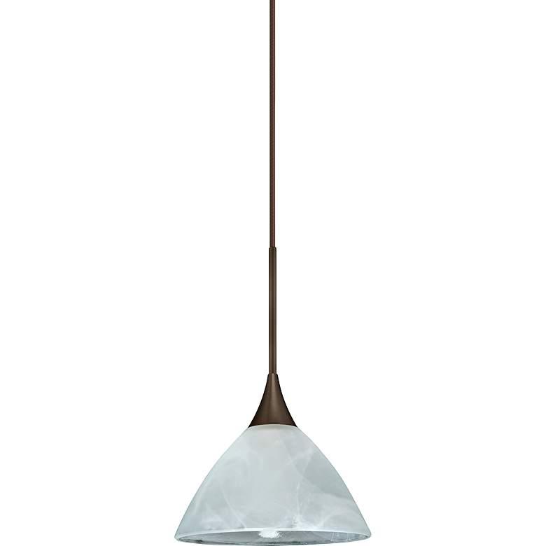"Besa Domi 5"" Wide Bronze Marble Glass Mini Pendant"
