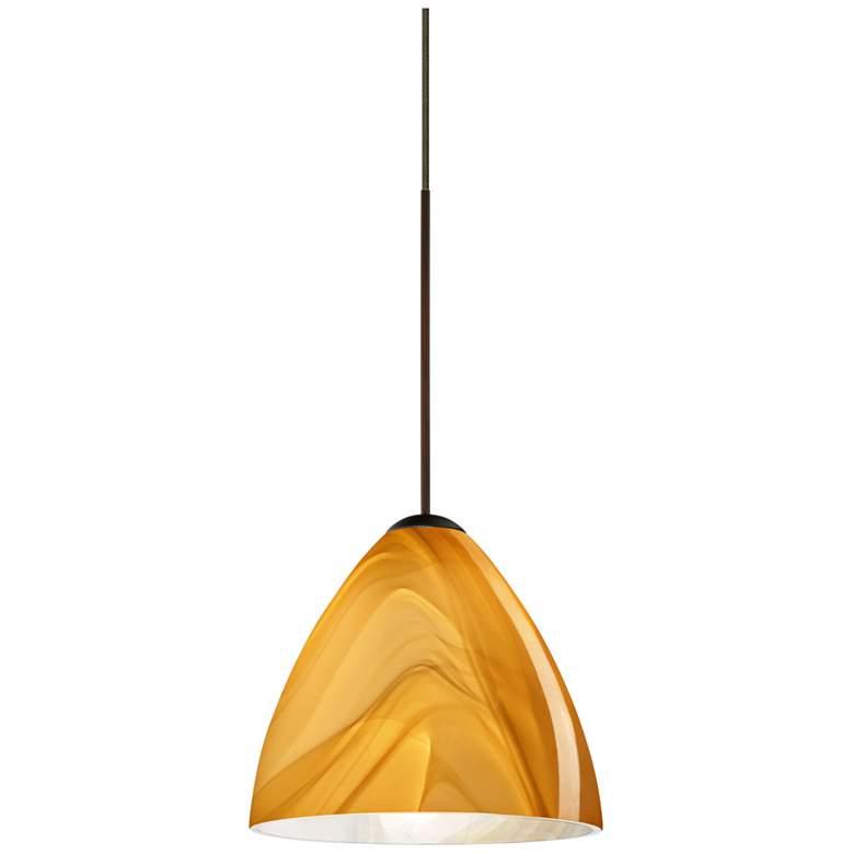 "Besa Mia 5"" Wide Bronze Honey Glass Mini Pendant"
