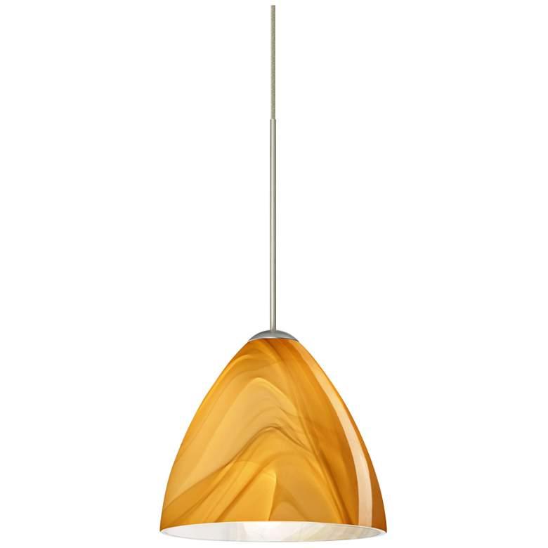 "Besa Mia 5"" Wide Satin Nickel Honey Glass Mini Pendant"