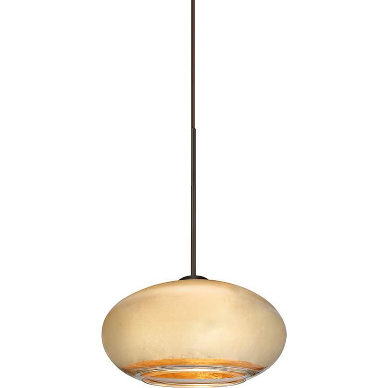 """Besa Brio 6 3/4"""" Wide Bronze Gold Foil Glass Mini Pendant"""