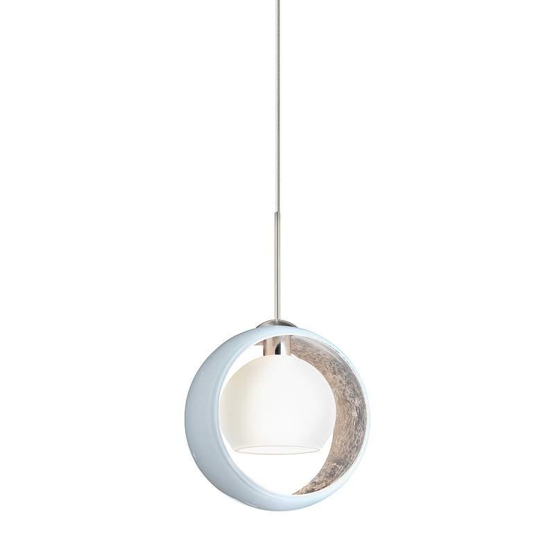 "Besa Pogo 6 1/4"" Wide Satin Nickel White Glass Mini Pendant"