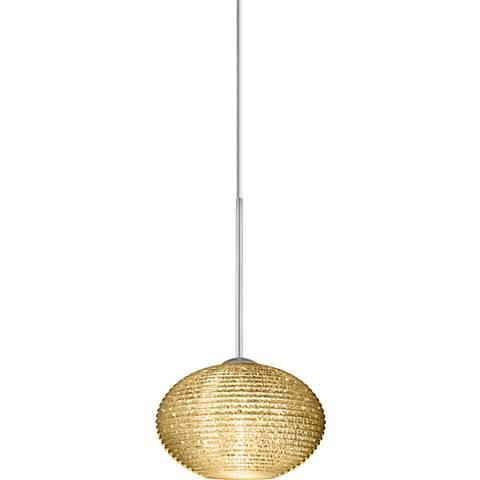"Besa Lasso 4 3/4""W Nickel Gold Glitter Glass Mini Pendant"