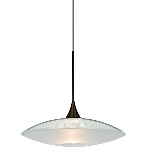 "Besa Spazio 8 3/4""W Bronze Clear w/ Frost Glass Mini Pendant"