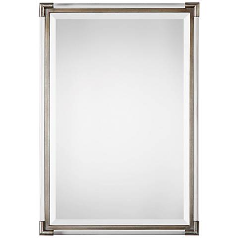 "Mackai Metallic Silver Leaf 23"" x 32 3/4"" Wall Mirror"