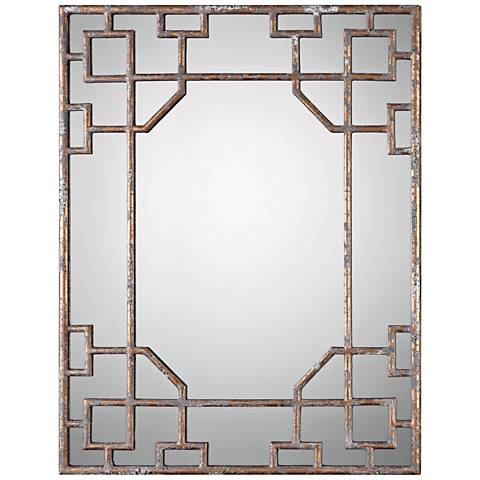 "Uttermost Genji Gold Leaf and Gray 27 3/4"" x 36"" Wall Mirror"