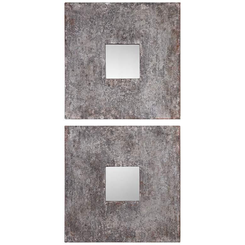 "Altha Burnished Zinc 20"" Square Wall Mirrors Set of 2"