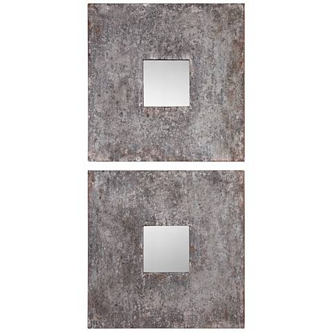 Altha Burnished Zinc Wall Mirror Set of 2 - 20-Inch Square
