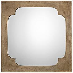 """Rania Antiqued Golden Champagne 24"""" Square Wall Mirror"""