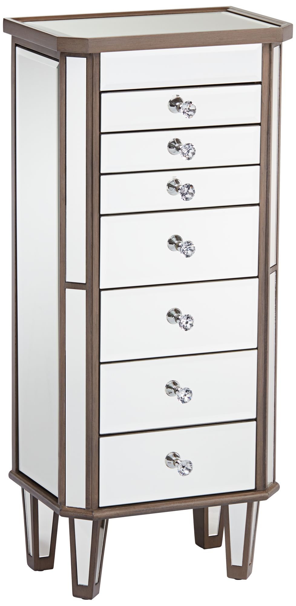 Vicenta 7Drawer Mirrored Contemporary Jewelry Armoire 14H19