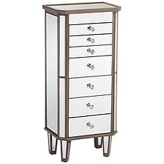 Vicenta 7-Drawer Mirrored Contemporary Jewelry Armoire