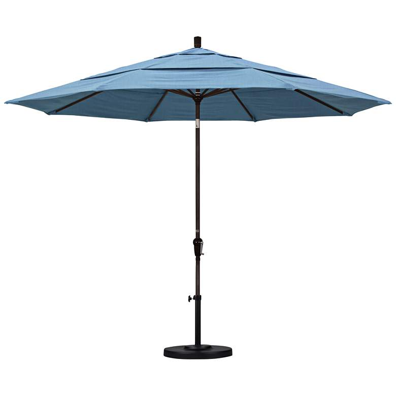 Sunset 11-Foot Air Blue Fabric Round Market Umbrella