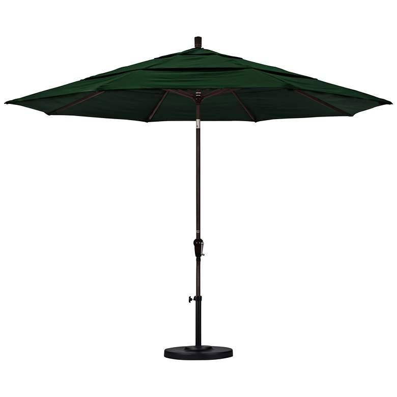 Sunset 11-Foot Forest Green Fabric Round Market Umbrella