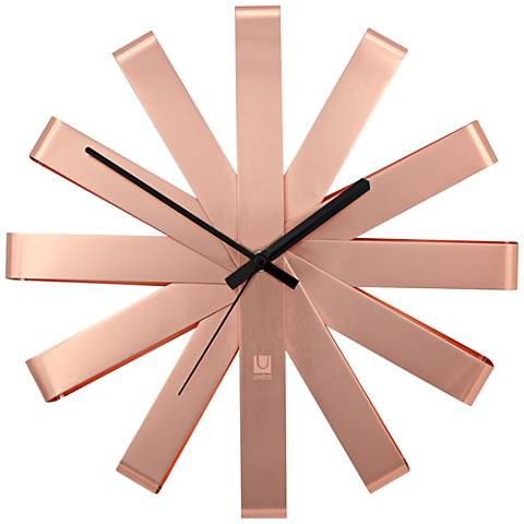 "Ribbon Copper 12"" Round Wall Clock"