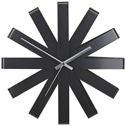 "Ribbon Black 12"" Round Wall Clock"