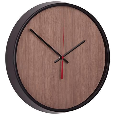 "Madera Black and Walnut 12 1/2"" Round Wall Clock"