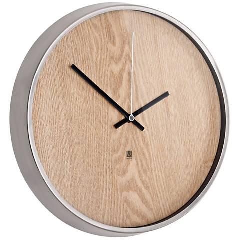 """Madera Natural and Nickel 12 1/2"""" Round Wall Clock"""