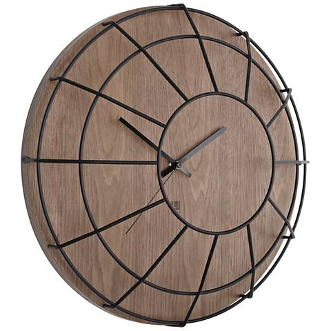 "Cage Black and Walnut 16"" Round Wall Clock"