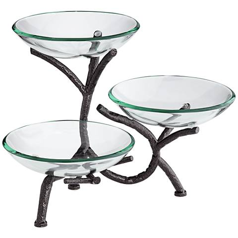Metal Branching 3-Tier Bowl Stand with Glass Bowls