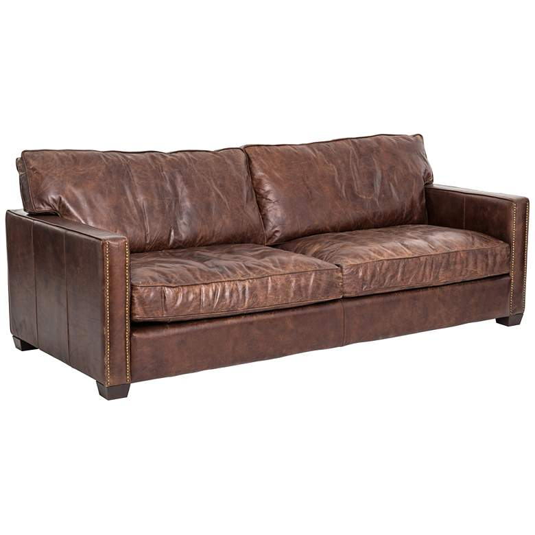 "Larkin Cigar 88"" Wide Top Grain Leather Sofa"