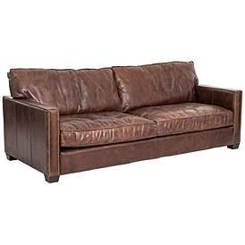 Larkin Cigar 88 Wide Top Grain Leather Sofa