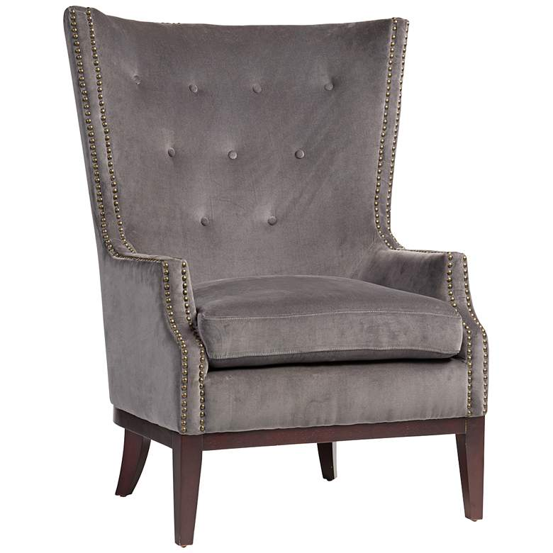 Lillian Gray Velvet Tufted Occasional Chair
