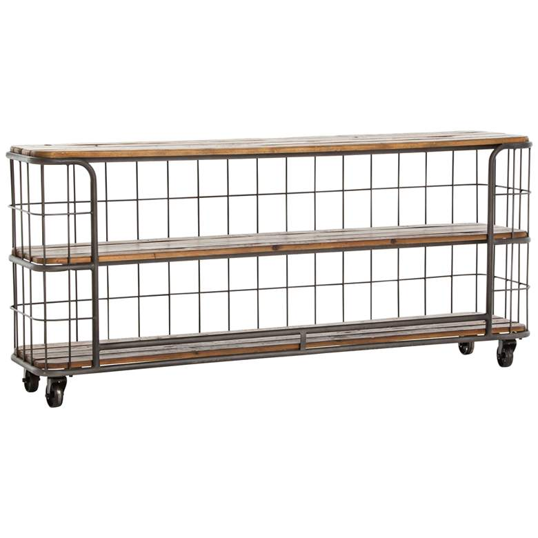 """Baker 70 3/4"""" Wide Wire and Reclamined Wood Console Table"""