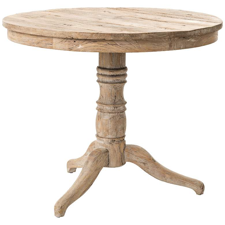 "Cressida 35 1/2"" Wide Round White Wash Wood Occasional Table"
