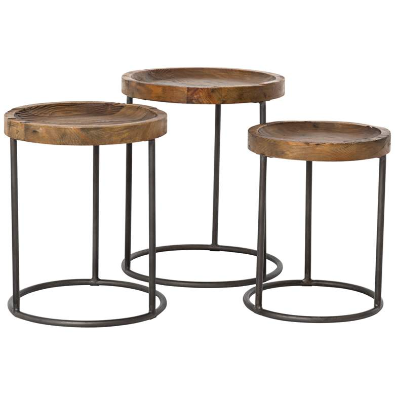 Tristan Bleached Wood Modern Accent Tables - 3-Piece