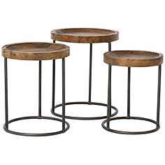 Tristan Bleached and Rust Black 3-Piece Nesting Table Set