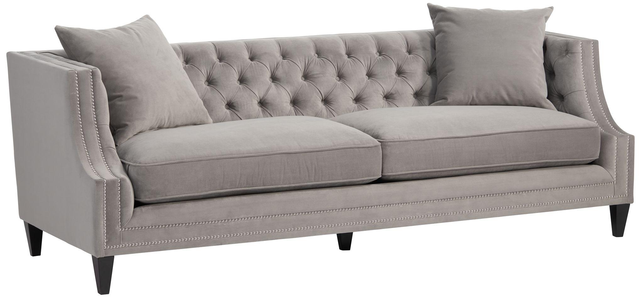 Marilyn Gray Velvet Tufted Upholstered Sofa