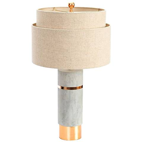 Couture Huntington Cement Gray and Gold Leaf Table Lamp