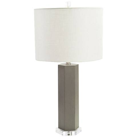 Couture Atherton Gray Leather Table Lamp