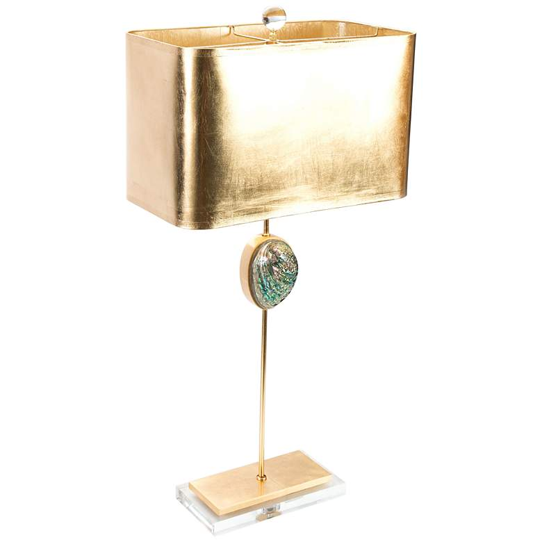 Couture Sausalito Green Abalone and Gold Leaf Table Lamp