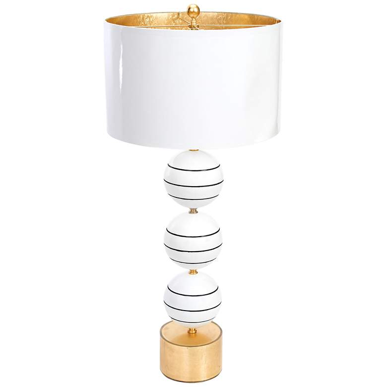 Couture Corona Del Mar Gloss White and Gold Leaf Table Lamp
