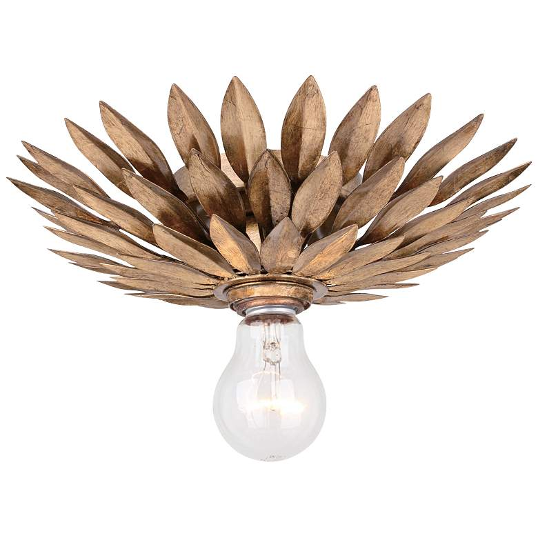 """Crystorama Broche 11"""" Wide Leaves Antique Gold Ceiling Light"""