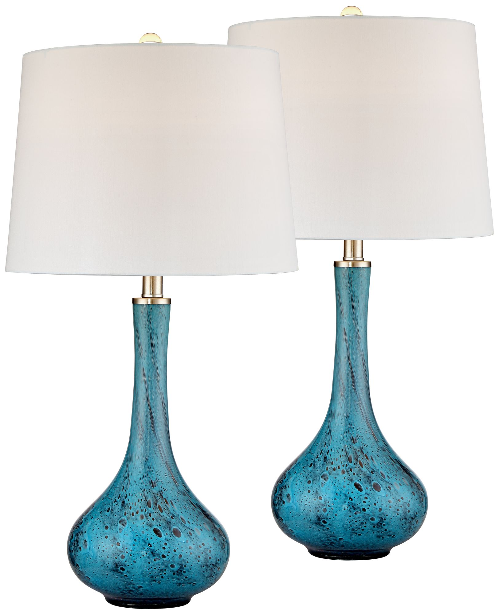 Exceptional Morgan Blue Art Glass Table Lamp Set Of 2