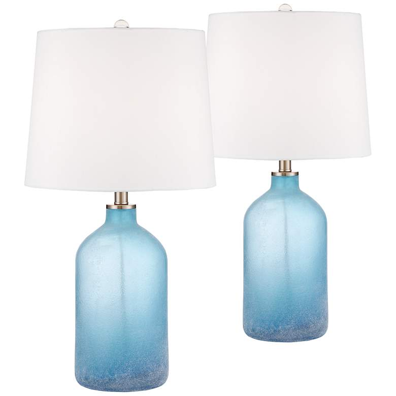 Aston Blue Frosted Glass Table Lamps Set of 2