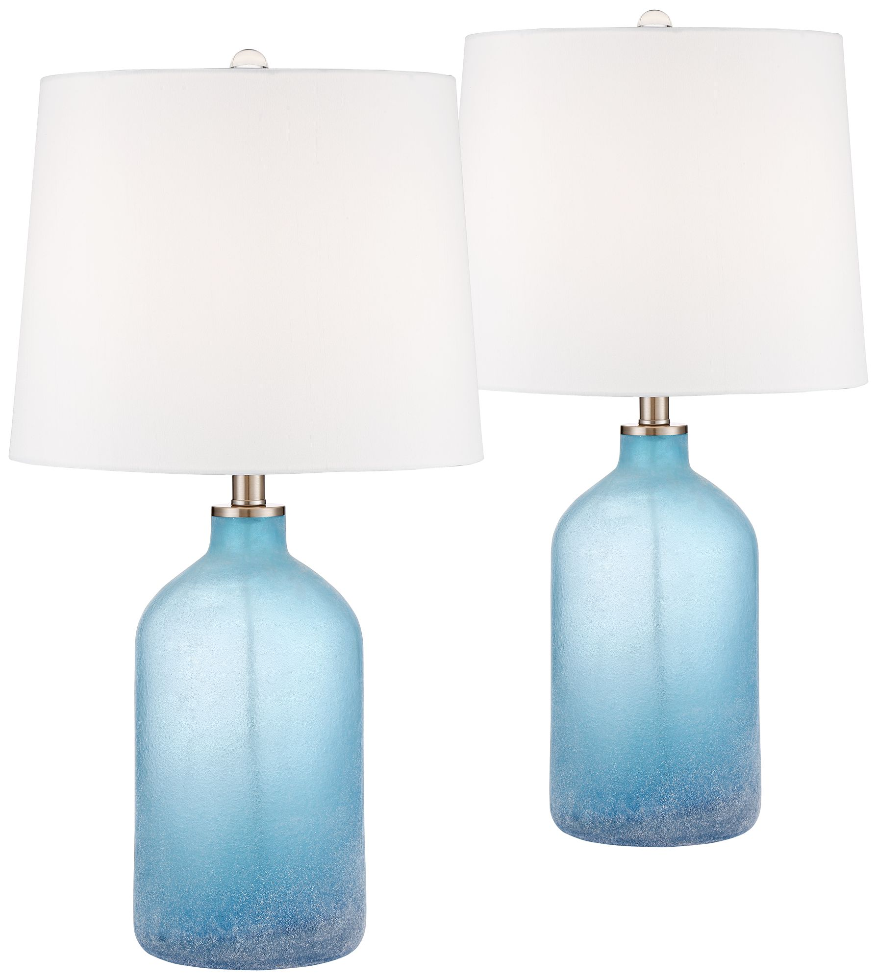 Aston Blue Frosted Glass Table Lamp Set Of 2
