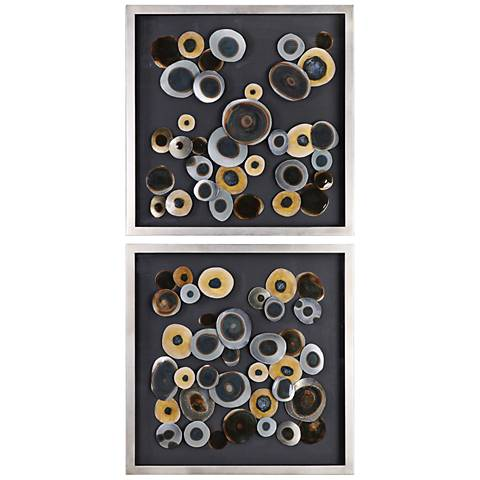 """Abstract Discs 32"""" Square 2-Piece Framed Wall Art Set"""